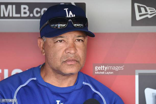 Manager Dave Roberts of the Los Angeles Dodgers addresses the media before a baseball game against the Washington Nationals at Nationals Park on July...