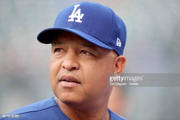 Manager Dave Roberts of the Los Angeles Dodgers during batting practice before the Los Angeles Dodgers Vs New York Mets regular season MLB game at...