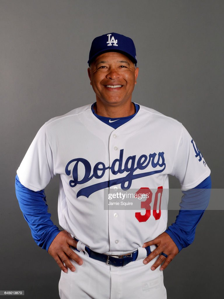 Manager Dave Roberts #30 of the Los Angeles Dodgers poses on Los Angeles Dodgers Photo Day during Sprint Training on February 24, 2017 in Glendale, Arizona.