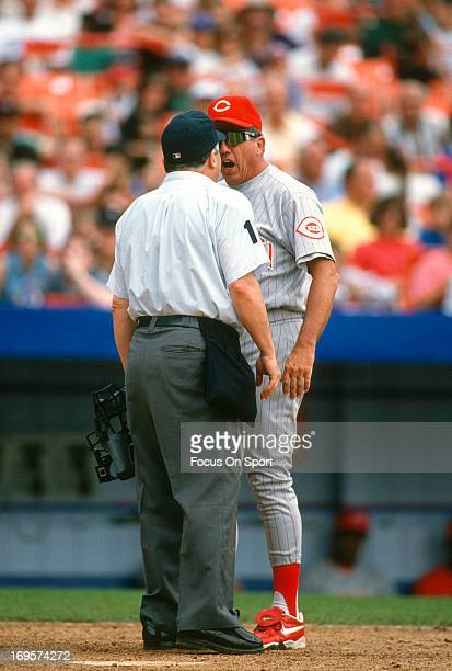 Manager Davey Johnson of Cincinnati Reds argues with an umpire during a Major League Baseball game against the New York Mets circa 1995 at Shea...