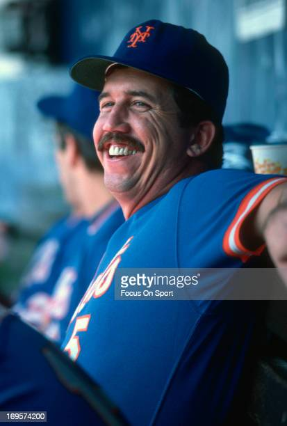 Manager Davey Johnson of New York Mets looks on from the dugout during an Major League Baseball game circa 1985 Johnson managed the Mets from 198490