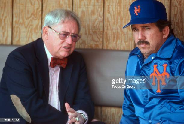 Manager Davey Johnson of New York Mets looks on from the dugout before the start of a Major League Baseball game circa 1987 at Shea Stadium in the...