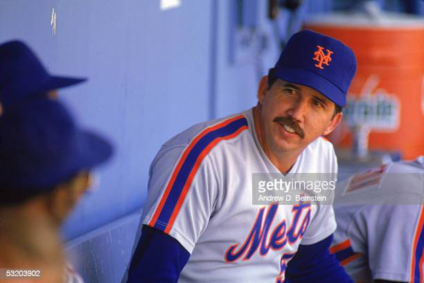 Manager Davey Johnson of the New York Mets sit on the dugout during a season game Davey Johnson managed the New York Mets from 19841990