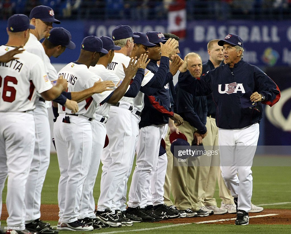 Manager Davey Johnson #5 of the USA greets his team during player introductions before the game against Canada during the 2009 World Baseball Classic Pool C match on March 7, 2009 at the Rogers Center in Toronto, Ontario, Canada.