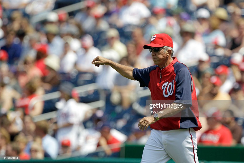 Manager Davey Johnson of the Washington Nationals during a pitching change against the Colorado Rockies at Nationals Park on July 10 2011 in...