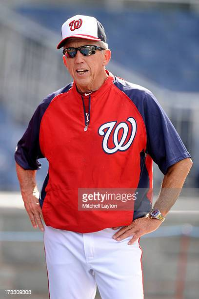 Manager Davey Johnson of the Washington Nationals looks on before a baseball game against the Milwaukee Brewers on July 1 2013 at Nationals Park in...