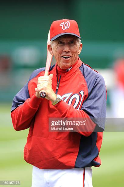 Manager Davey Johnson of the Washington Nationals looks on during batting practice of a baseball game against the Chicago Cubs on May 11 2013 at...