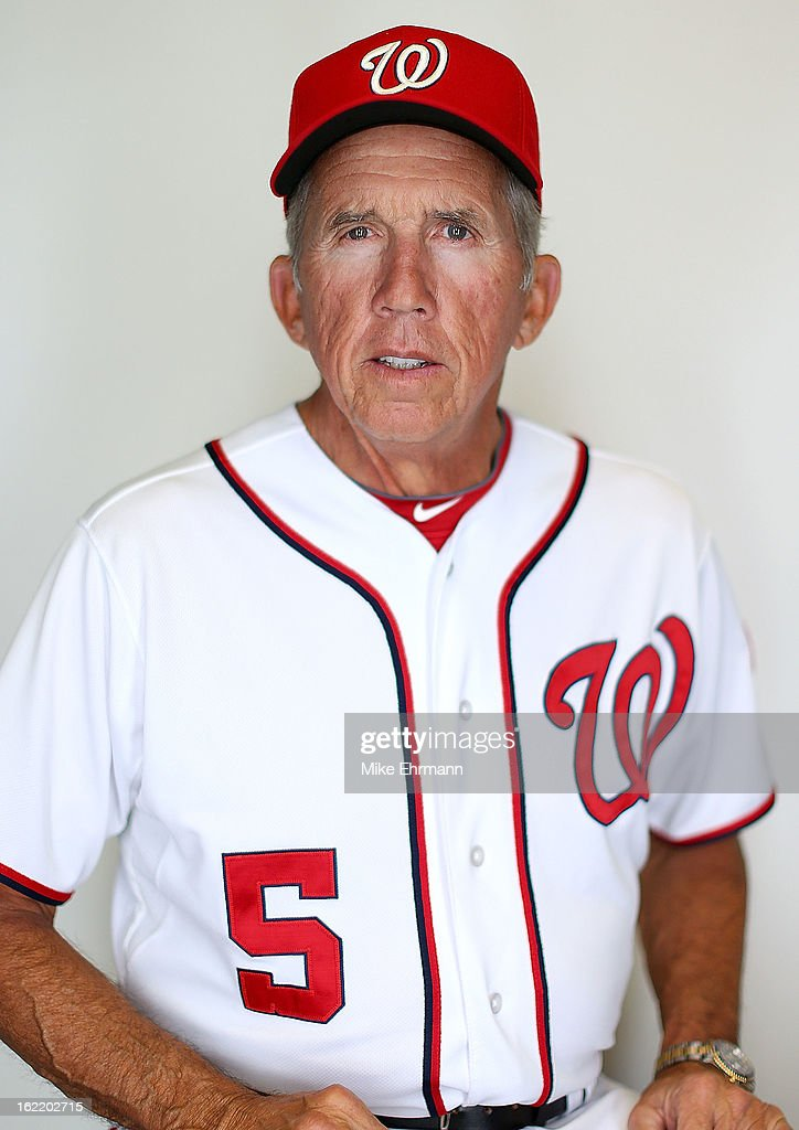 Manager <a gi-track='captionPersonalityLinkClicked' href=/galleries/search?phrase=Davey+Johnson+-+Baseball+Manager&family=editorial&specificpeople=93273 ng-click='$event.stopPropagation()'>Davey Johnson</a> #5 of the Washington Nationals poses for a portrait during photo day at Space Coast Stadium on February 20, 2013 in Viera, Florida.