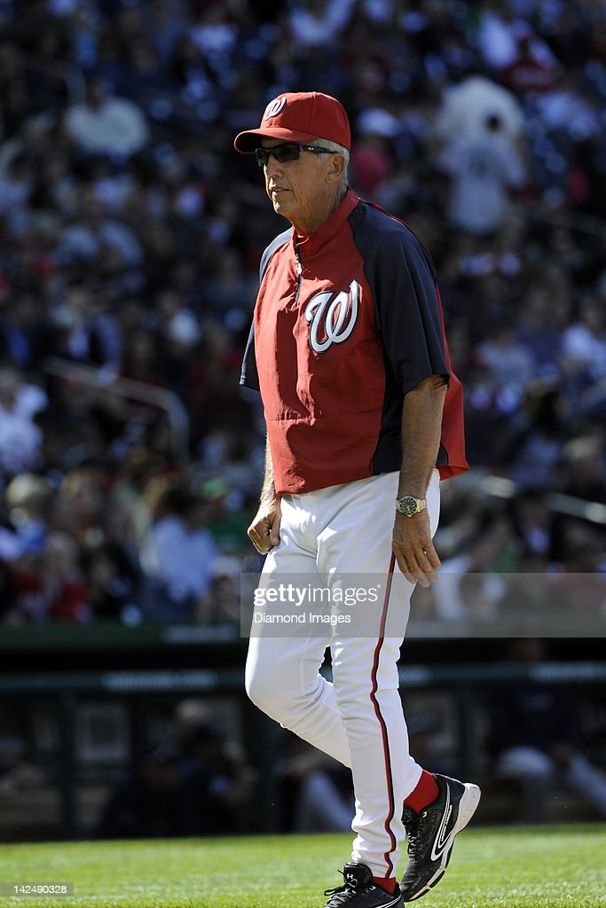 Manager Davey Johnson of the Washington Nationals returns to the dugout after making a pitching change during the top of the fifth inning of an...