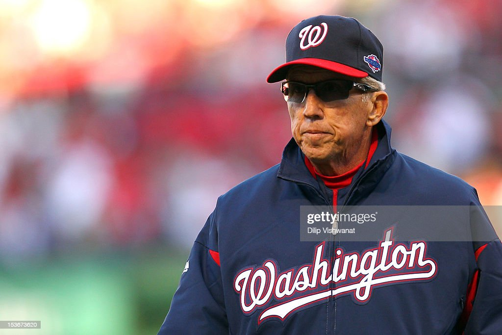 Manager Davey Johnson of the Washington Nationals returns to the dugout after a pitching change in the fourth inning against the St Louis Cardinals...