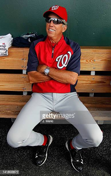 Manager Davey Johnson of the Washington Nationals talks with the media prior to the start of the Grapefruit League Spring Training Game against the...