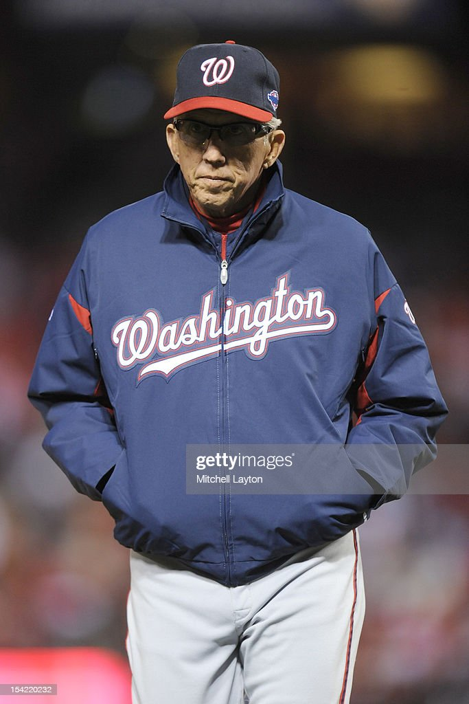 Manager Davey Johnson #5 of the Washington Nationals walks back to the dug out during Game Two of the National League Division Series against the St. Louis Cardinals at Busch Stadium on October 8, 2012 in St Louis, Missouri. The Cardinals won 12-4.