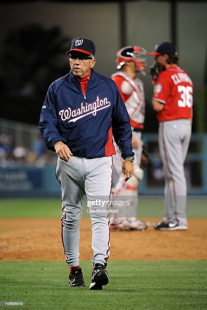 Manager Davey Johnson of the Washington Nationals walks off the field during the game against the Los Angeles Dodgers at Dodger Stadium on April 28...