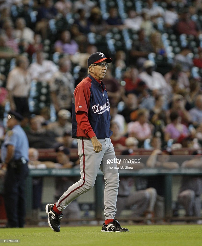 Manager Davey Johnson of the Washington Nationals walks to the pitcher mound for a pitching change against the Houston Astros on July 20 2011 at...