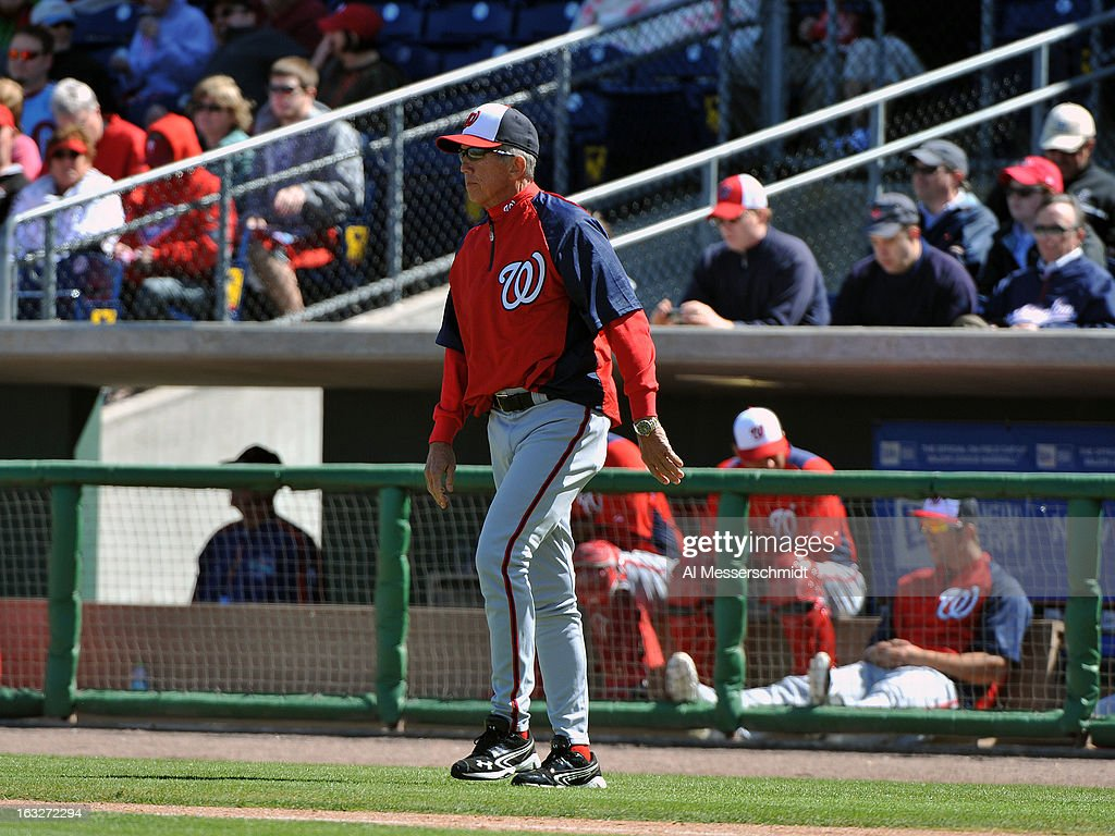 Manager Davey Johnson of the Washington Nationals walks to the mound to remove a pitcher during play against the Philadelphia Phillies March 6 2013...