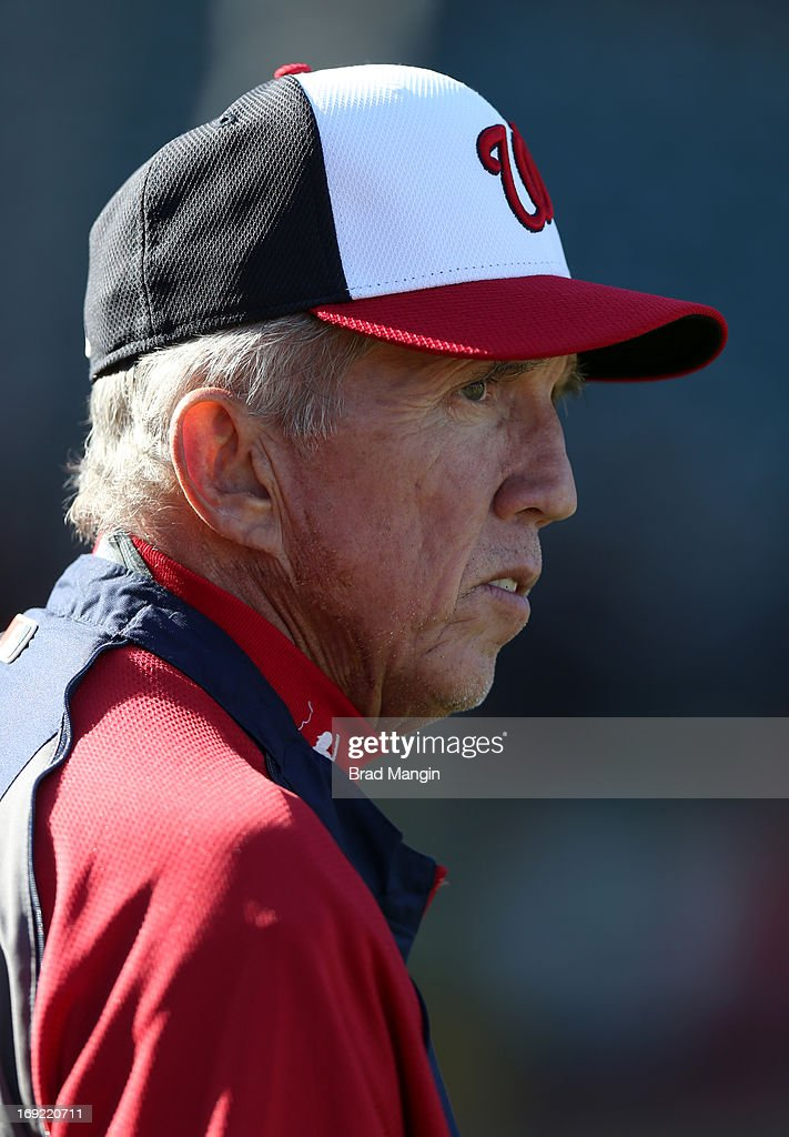 Manager Davey Johnson #5 of the Washington Nationals watches batting practice before the game against the San Francisco Giants at AT&T Park on Tuesday, May 21, 2013 in San Francisco, California.
