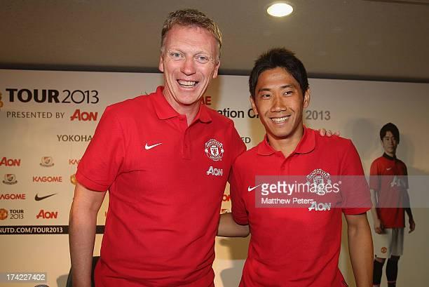 Manager David Moyes and Shinji Kagawa of Manchester United pose after a press conference as part of their preseason tour of Bangkok Australia China...