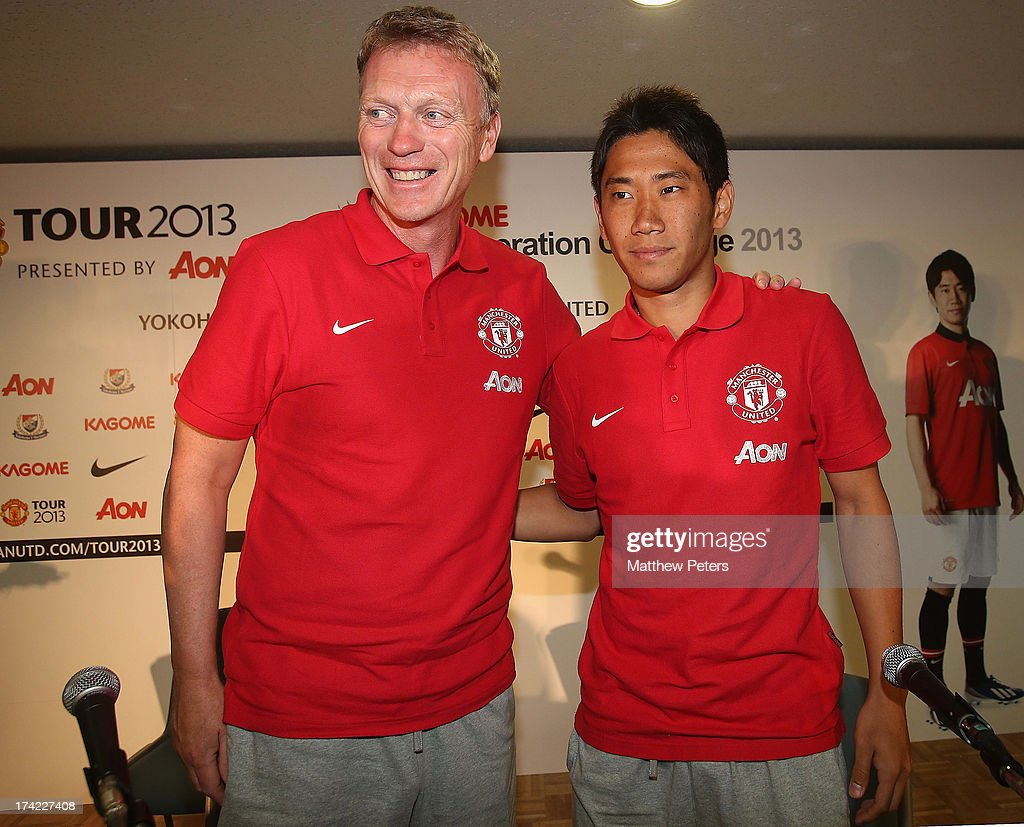 Manager David Moyes and Shinji Kagawa of Manchester United pose after a press conference as part of their pre-season tour of Bangkok, Australia, China, Japan and Hong Kong on July 22, 2013 in Yokohama, Japan.