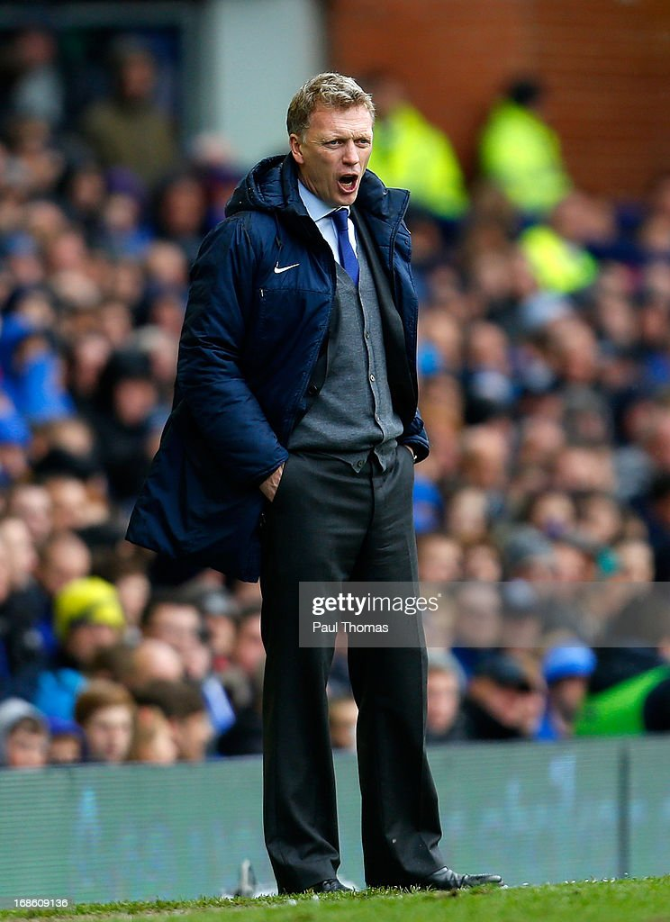 Manager <a gi-track='captionPersonalityLinkClicked' href=/galleries/search?phrase=David+Moyes&family=editorial&specificpeople=215482 ng-click='$event.stopPropagation()'>David Moyes</a> of Everton shouts instructions during the Barclays Premier League match between Everton and West Ham United at Goodison Park on May 12, 2013 in Liverpool, England.