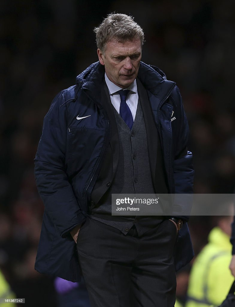Manager David Moyes of Everton walks off after the Barclays Premier League match between Manchester United and Everton at Old Trafford on February 10, 2013 in Manchester, England.