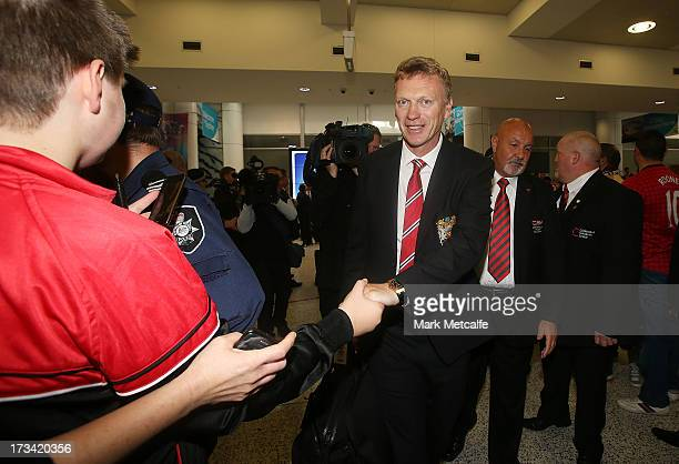 Manager David Moyes of Manchester United FC is seen upon arrival at Sydney International Airport on July 14 2013 in Sydney Australia