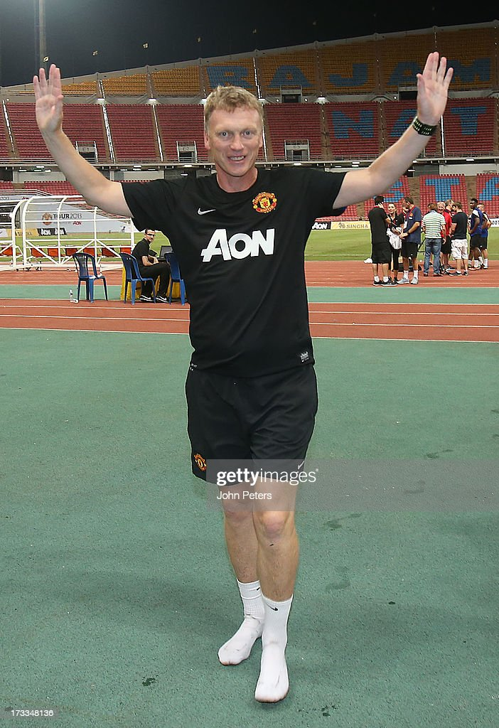 Manager David Moyes of Manchester United in action during a first team training session at Rajmalanga Stadium as part of their preseason tour of...