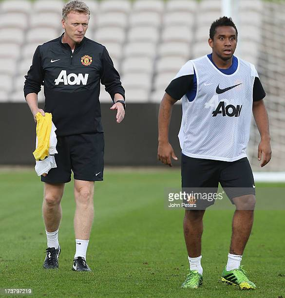 Manager David Moyes of Manchester United in action during a first team training session at Kogarah as part of their preseason tour of Bangkok...