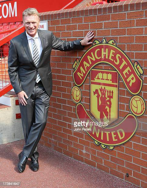 Manager David Moyes of Manchester United poses at Old Trafford on July 5 2013 in Manchester England