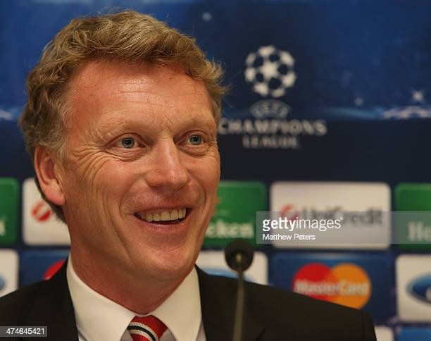 Manager David Moyes of Manchester United speaks at a press conference ahead of their UEFA Champions League Round of 16 match against Olympiacos...
