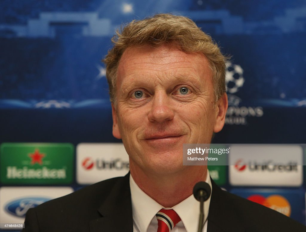 Manager <a gi-track='captionPersonalityLinkClicked' href=/galleries/search?phrase=David+Moyes&family=editorial&specificpeople=215482 ng-click='$event.stopPropagation()'>David Moyes</a> of Manchester United speaks at a press conference, ahead of their UEFA Champions League Round of 16 match against Olympiacos Piraeus, at Karaiskakis Stadium on February 24, 2014 in Piraeus, Greece.