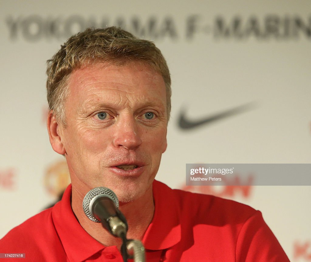 Manager <a gi-track='captionPersonalityLinkClicked' href=/galleries/search?phrase=David+Moyes&family=editorial&specificpeople=215482 ng-click='$event.stopPropagation()'>David Moyes</a> of Manchester United speaks during a press conference as part of their pre-season tour of Bangkok, Australia, China, Japan and Hong Kong on July 22, 2013 in Yokohama, Japan.