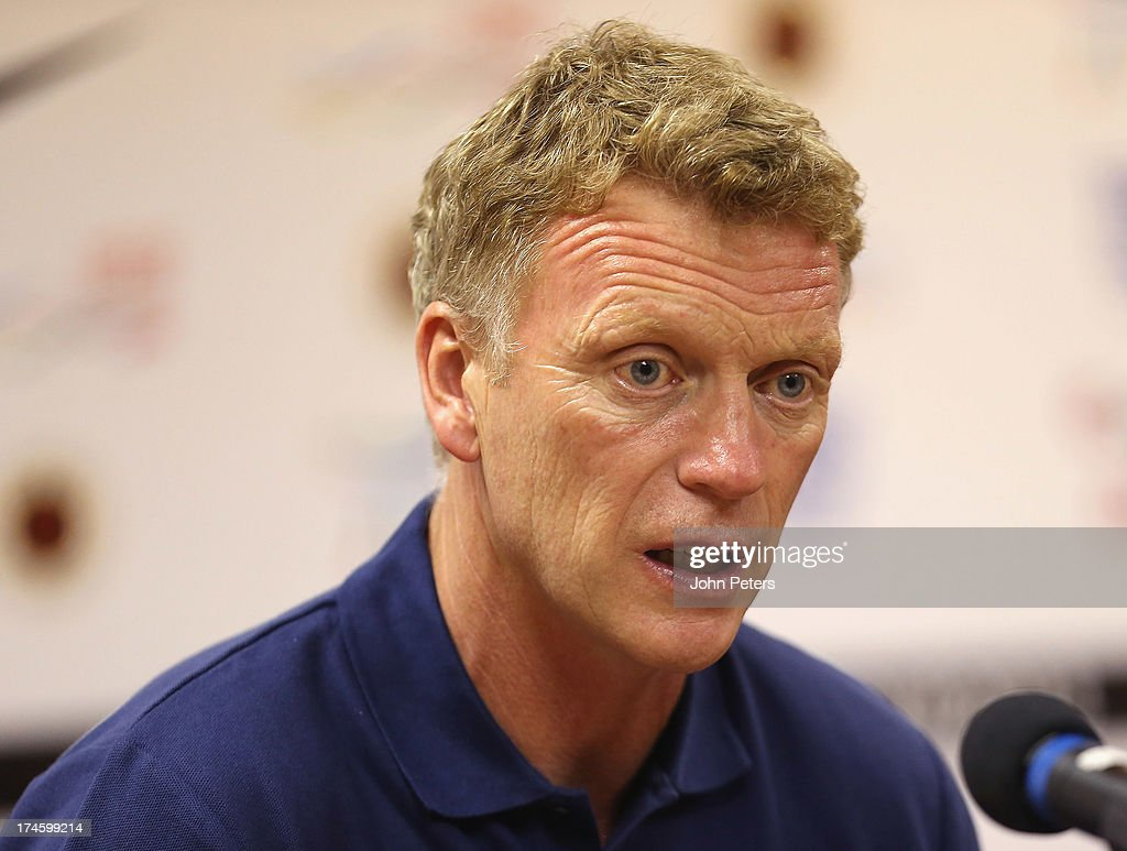 Manager <a gi-track='captionPersonalityLinkClicked' href=/galleries/search?phrase=David+Moyes&family=editorial&specificpeople=215482 ng-click='$event.stopPropagation()'>David Moyes</a> of Manchester United speaks during a press conference as part of their pre-season tour of Bangkok, Australia, Japan and Hong Kong on July 28, 2013 in Hong Kong, Hong Kong.