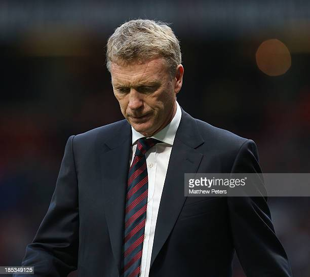 Manager David Moyes of Manchester United walks off after the Barclays Premier League match between Manchester United and Southampton at Old Trafford...