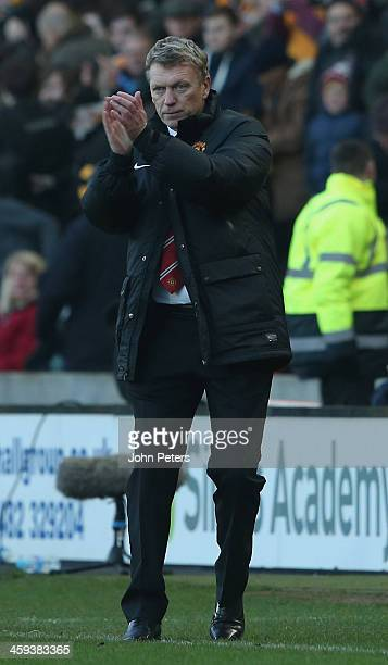 Manager David Moyes of Manchester United watches from the touchline during the Barclays Premier League match between Hull City and Manchester United...