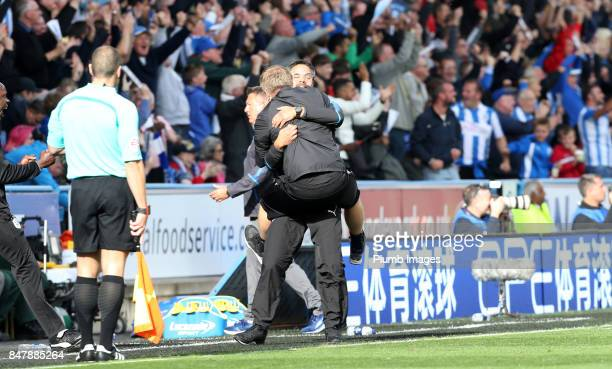 Manager David Wagner of Huddersfield Town celebrates after Laurent Depoitre of Huddersfield Town scores to make it 10 during the Premier League match...