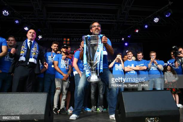 Manager David Wagner of Huddersfield Town celebrates with the Sky Bet Championship Play Offs trophy on May 30 2017 in Huddersfield England