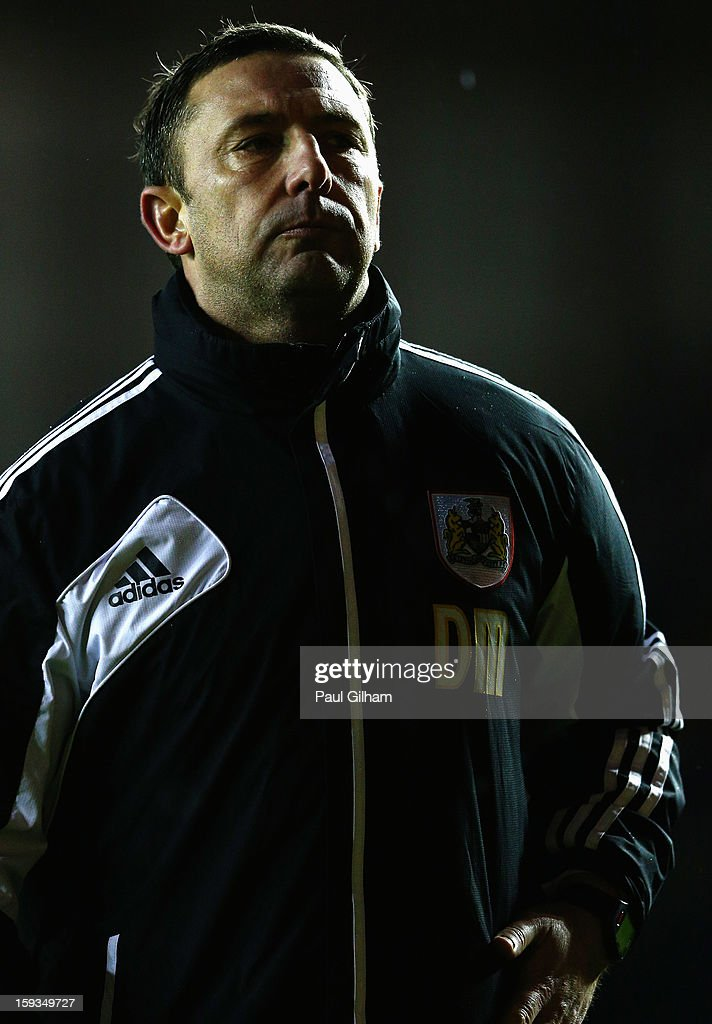 Manager Derek McInnes of Bristol City looks on during the npower Championship match between Bristol City and Leicester City at Ashton Gate on January 12, 2013 in Bristol, England.