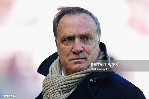 Manager Dick Advocaat of Sunderland arrives ahead of the Barclays Premier League match between Sunderland and Crystal Palace at Stadium of Light on...