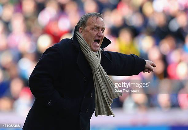 Manager Dick Advocaat of Sunderland reacts during the Barclays Premier League match between Stoke City and Sunderland at Britannia Stadium on April...