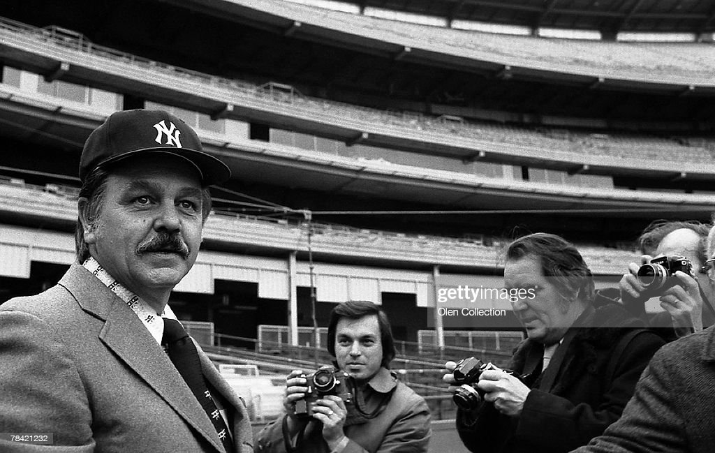 Manager Dick Williams (left) meets the press after being announced as the new manager for the New York Yankees on December 18, 1973 at Shea Stadium in Flushing, New York. Dick Williams73N2042B