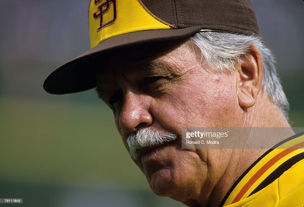 Manager Dick Williams of the San Diego Padres during Game 3 of the 1984 National League Championship Series against the Chicago Cubs on October 5, 1984 in San Diego, California.