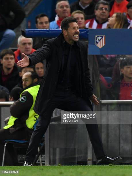 Manager Diego Simeone of Club Atletico de Madrid gestures during the UEFA Champions League Round of 16 second leg match between Club Atletico de...