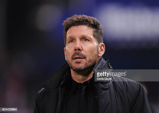Manager Diego Simeone of Club Atletico de Madrid looks on before the start of the La Liga match between Club Atletico de Madrid and Real Madrid CF at...