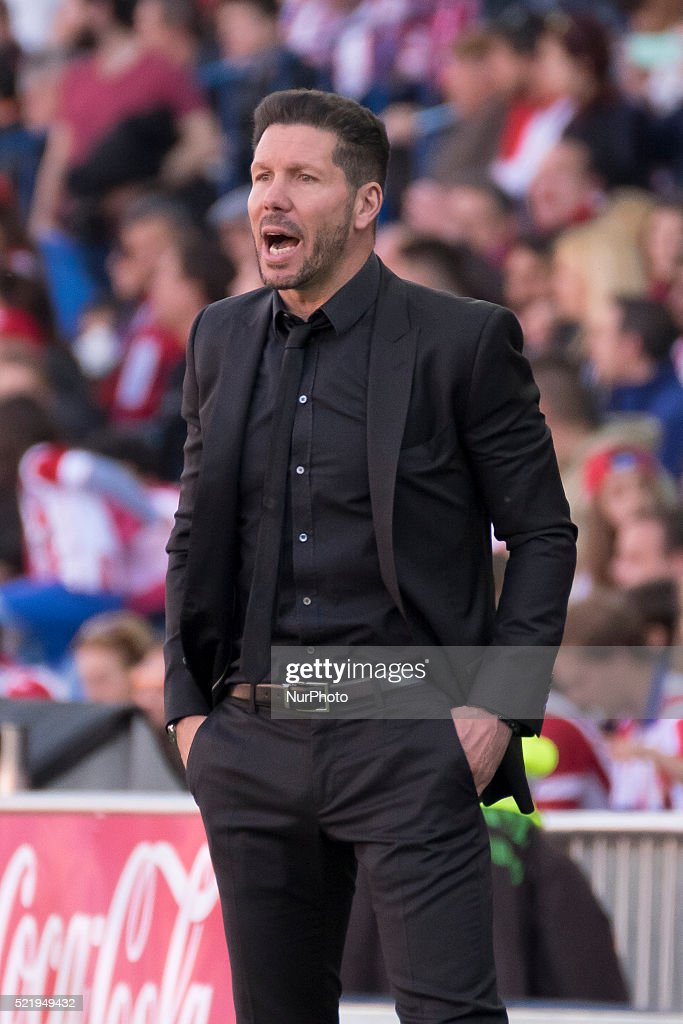 Manager <a gi-track='captionPersonalityLinkClicked' href=/galleries/search?phrase=Diego+Simeone&family=editorial&specificpeople=226872 ng-click='$event.stopPropagation()'>Diego Simeone</a> of Club Atletico de Madrid looks on during the La Liga match between Club Atletico de Madrid and Granada CF at Vicente Calderon Stadium on April 17, 2016 in Madrid, Spain.