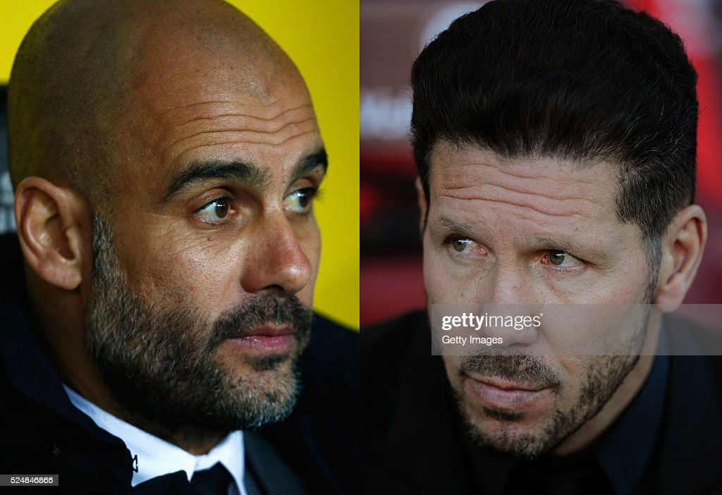 PHOTO - Image Numbers 513897530 (L) and 521916278) In this composite image a comparison has been made between <a gi-track='captionPersonalityLinkClicked' href=/galleries/search?phrase=Josep+Guardiola&family=editorial&specificpeople=2088964 ng-click='$event.stopPropagation()'>Josep Guardiola</a> manager of Bayern Munich (L) and Manager <a gi-track='captionPersonalityLinkClicked' href=/galleries/search?phrase=Diego+Simeone&family=editorial&specificpeople=226872 ng-click='$event.stopPropagation()'>Diego Simeone</a> of Club Atletico de Madrid. Club Atletico de Madrid and FC Bayern Munich meet in the UEFA Champions League Semi Final First Leg on April 27, 2016 at the at Vicente Calderon Stadium in Madrid,Spain. With the second leg taking place at the Allianz Arena on May 3, 2016 in Munich,Germany. MADRID, SPAIN - APRIL 17: Manager <a gi-track='captionPersonalityLinkClicked' href=/galleries/search?phrase=Diego+Simeone&family=editorial&specificpeople=226872 ng-click='$event.stopPropagation()'>Diego Simeone</a> of Club Atletico de Madrid looks on during the La Liga match between Club Atletico de Madrid and Granada CF at Vicente Calderon Stadium on April 17, 2016 in Madrid, Spain.