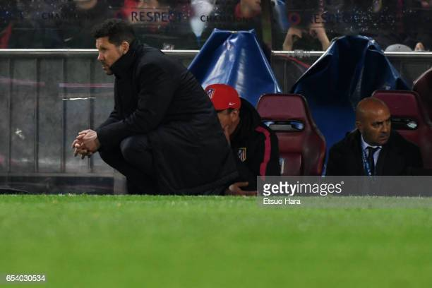 Manager Diego Simeone of Club Atletico de Madrid looks on during the UEFA Champions League Round of 16 second leg match between Club Atletico de...
