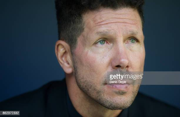 Manager Diego Simeone of Club Atletico de Madrid looks on during the La Liga match between Atletico Madrid and Sevilla at Wanda Metropolitano on...