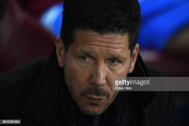 Manager Diego Simeone of Club Atletico de Madrid looks on prior to the UEFA Champions League Round of 16 second leg match between Club Atletico de...