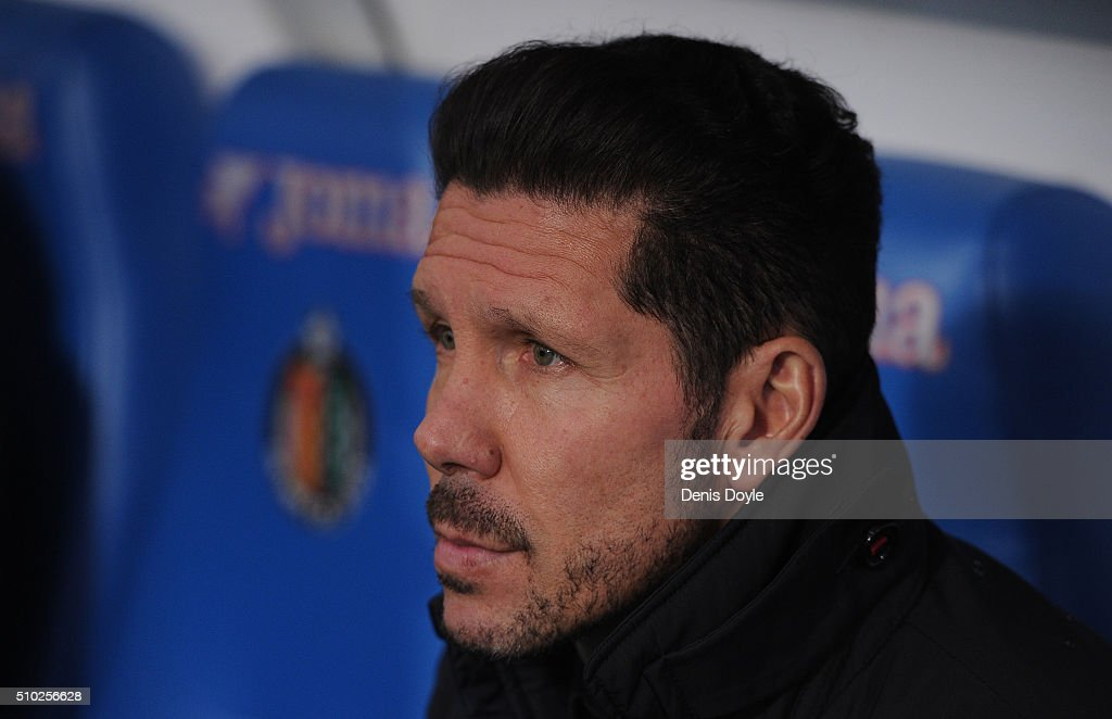 Manager <a gi-track='captionPersonalityLinkClicked' href=/galleries/search?phrase=Diego+Simeone&family=editorial&specificpeople=226872 ng-click='$event.stopPropagation()'>Diego Simeone</a> of Club Atletico de Madrid looks out from the players bench before the start of during the La Liga match between Getafe CF and Club Atletico de Madrid at Coliseum Alfonso Perez on February 14, 2016 in Getafe, Spain.
