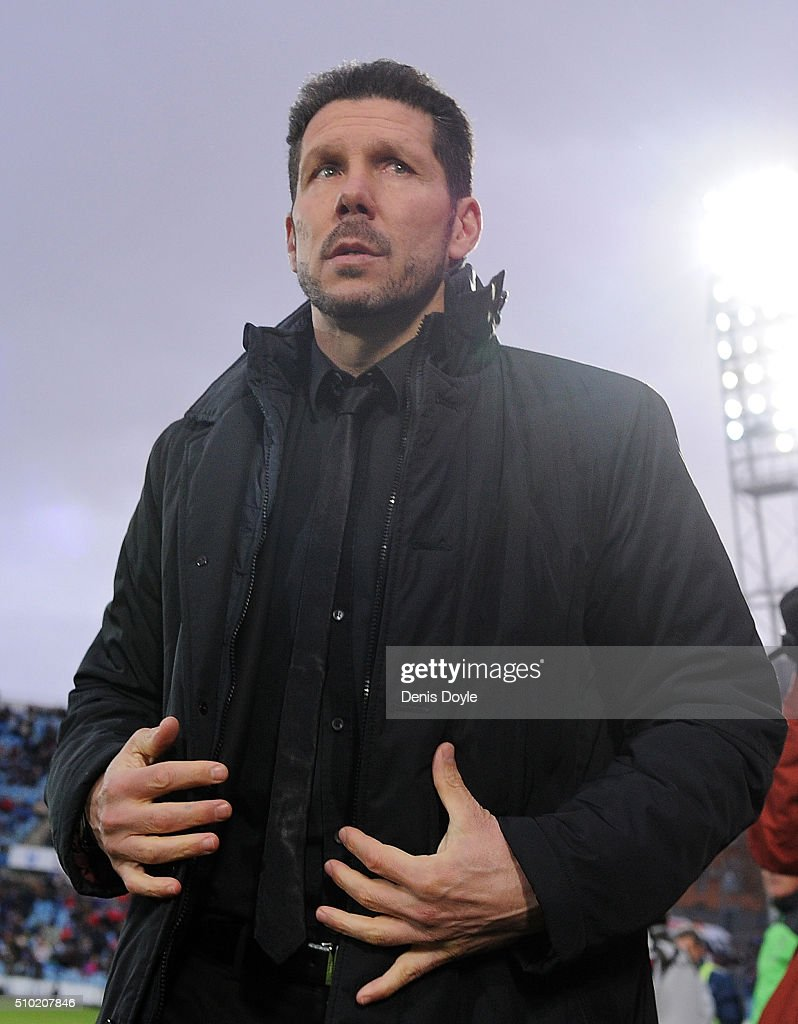 Manager <a gi-track='captionPersonalityLinkClicked' href=/galleries/search?phrase=Diego+Simeone&family=editorial&specificpeople=226872 ng-click='$event.stopPropagation()'>Diego Simeone</a> of Club Atletico de Madrid takes his place at the bench before the start of during the La Liga match between Getafe CF and Club Atletico de Madrid at Coliseum Alfonso Perez on February 14, 2016 in Getafe, Spain.